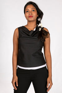 Black Organic cotton Top - COWL - Upasana Design Studio