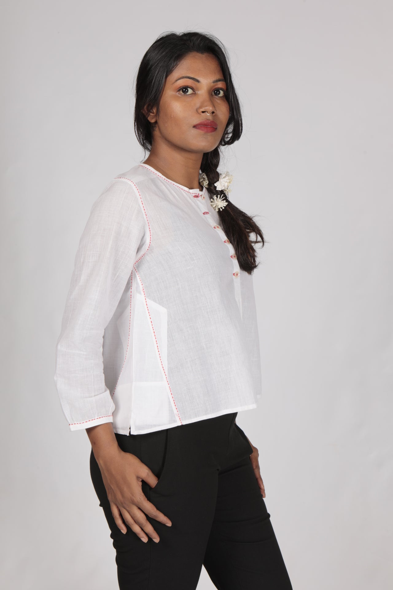 White Fine Khadi Plain Top - JUBA - Upasana Design Studio