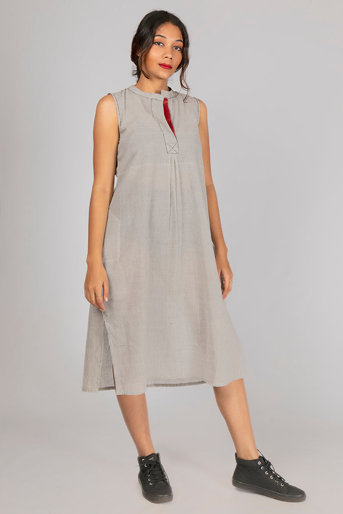 Off White Organic Cotton Checked Dress - RAGA - Upasana Design Studio