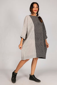 Black Organic Cotton Dress - SAINA - Upasana Design Studio
