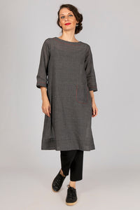 Black Organic Cotton Checked Dress - PARINA
