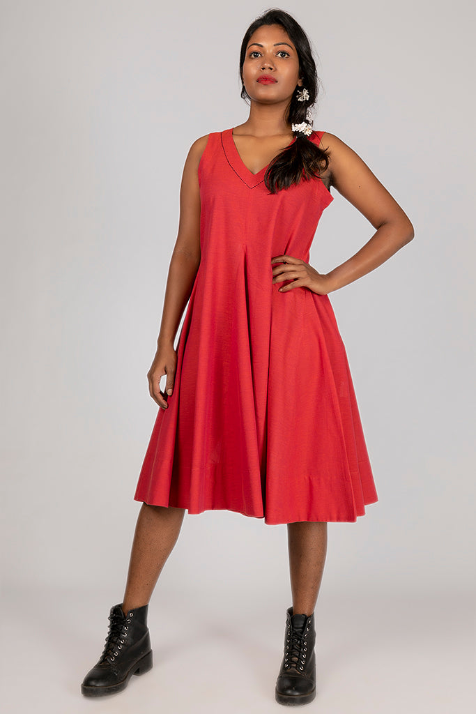 Red Organic cotton Dress - NALINI - Upasana Design Studio