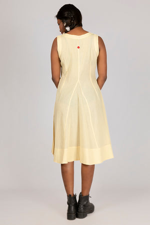 Neem dyed Organic cotton Dress - NALINI - Upasana Design Studio