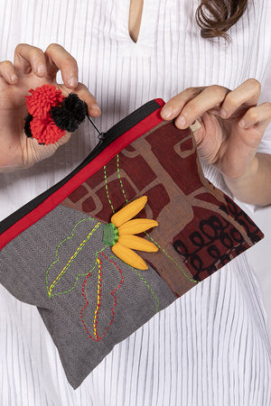 3D Upcycled Organic cotton pouch - BANANA FRUIT - Upasana Design Studio
