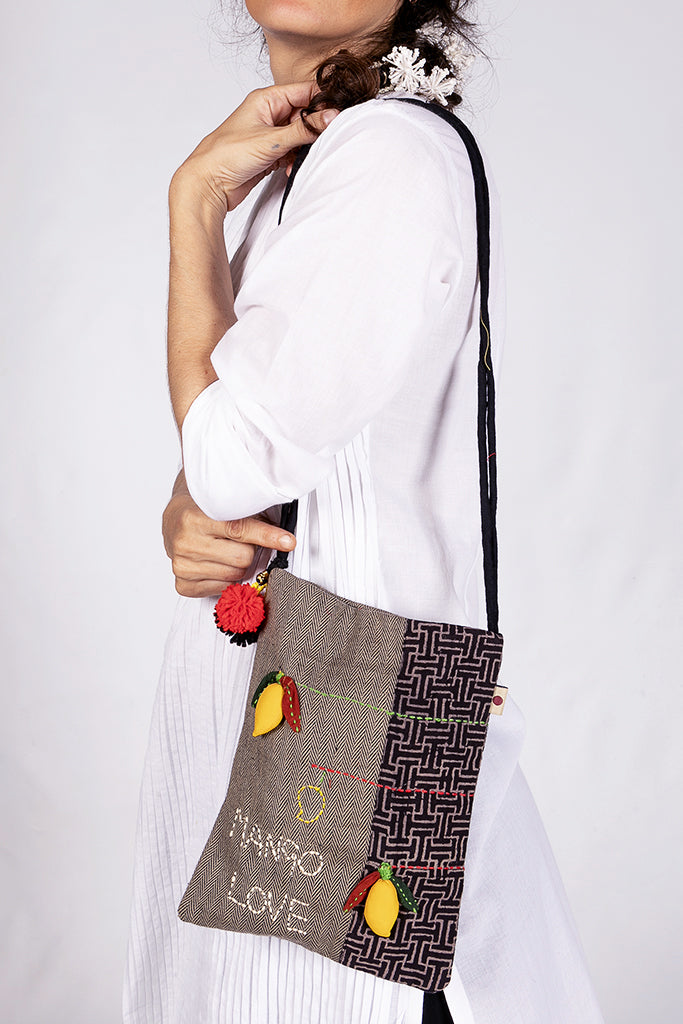 3D Organic cotton sling bag - MANGO - Upasana Design Studio