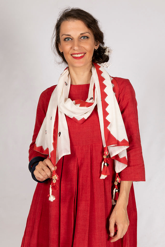 Red Khadi Plain Dress - PIHU