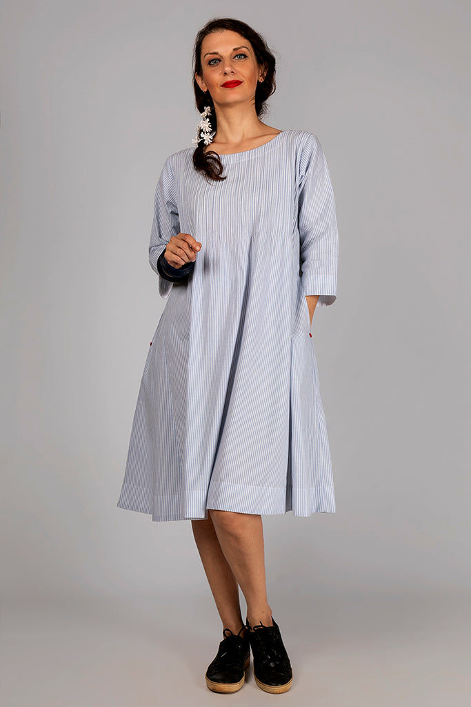Blue Organic Cotton Striped Dress - SERENE - Upasana Design Studio