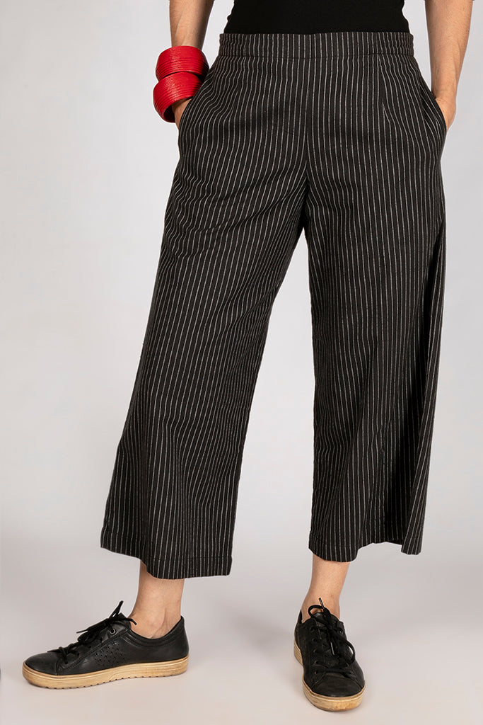 Black Organic Cotton Striped Bottom - NILA - Upasana Design Studio