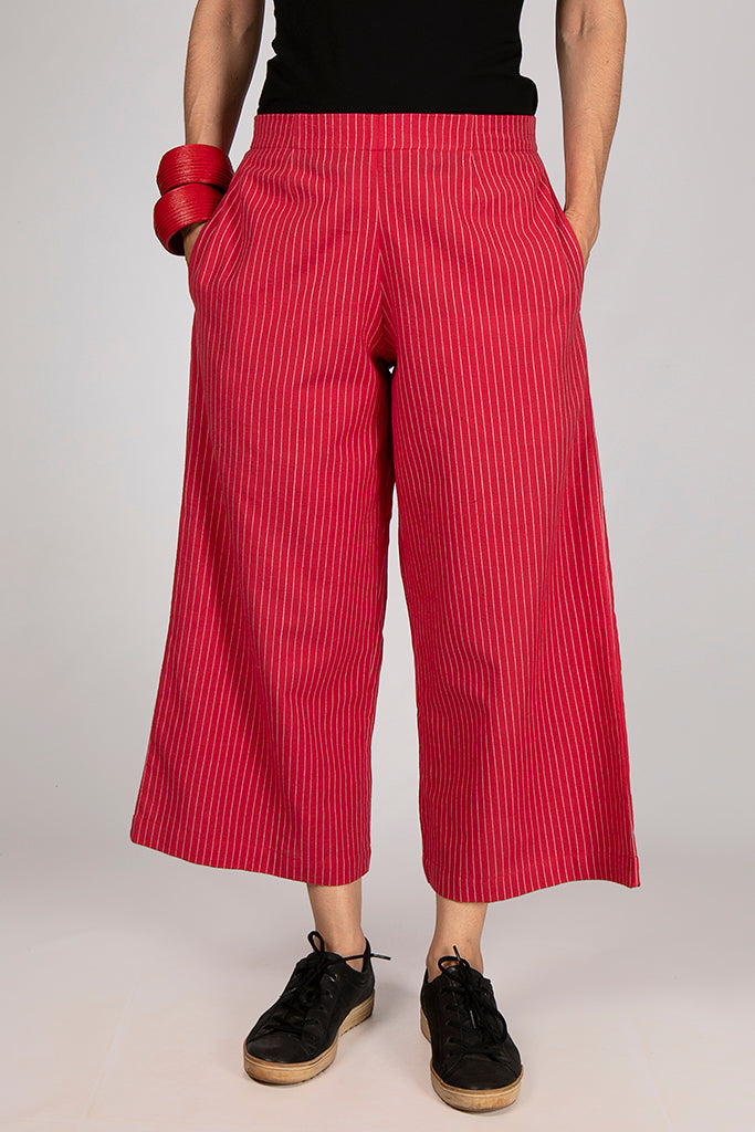 Red Organic Cotton White Striped Bottom - NILA