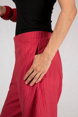 Red Organic Cotton White Striped Bottom - NILA - Upasana Design Studio