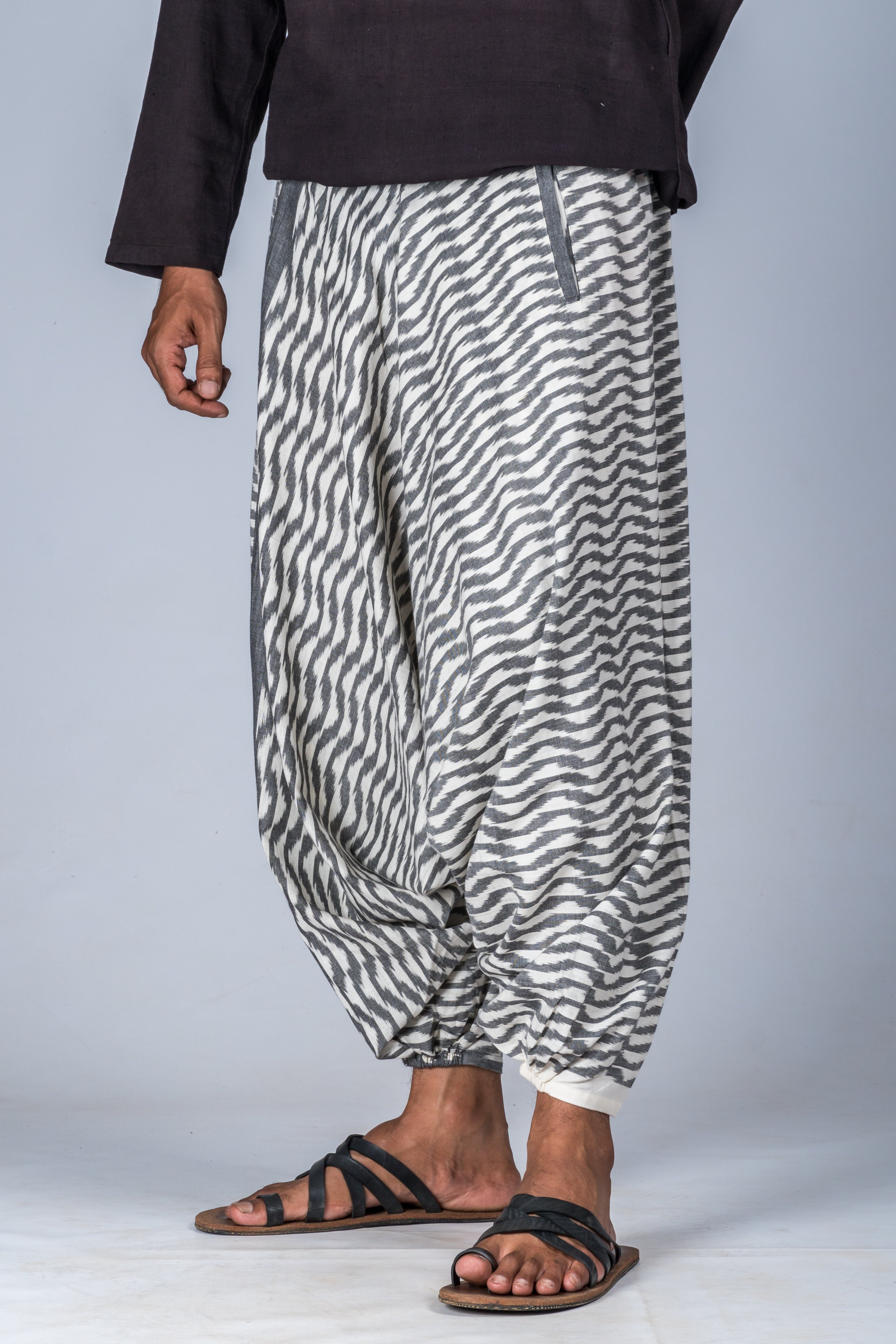 White and Grey Ikat Waves - Turkish Pant