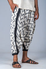 White and Grey Ikat Zigzag - Turkish Pant