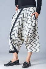 White and Grey Ikat Zigzag - Turkish Mid Length Pant