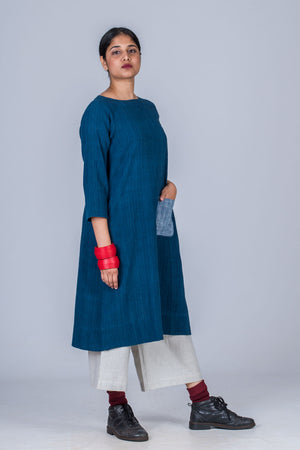 Natural Indigo Khadi Dress - PARINA
