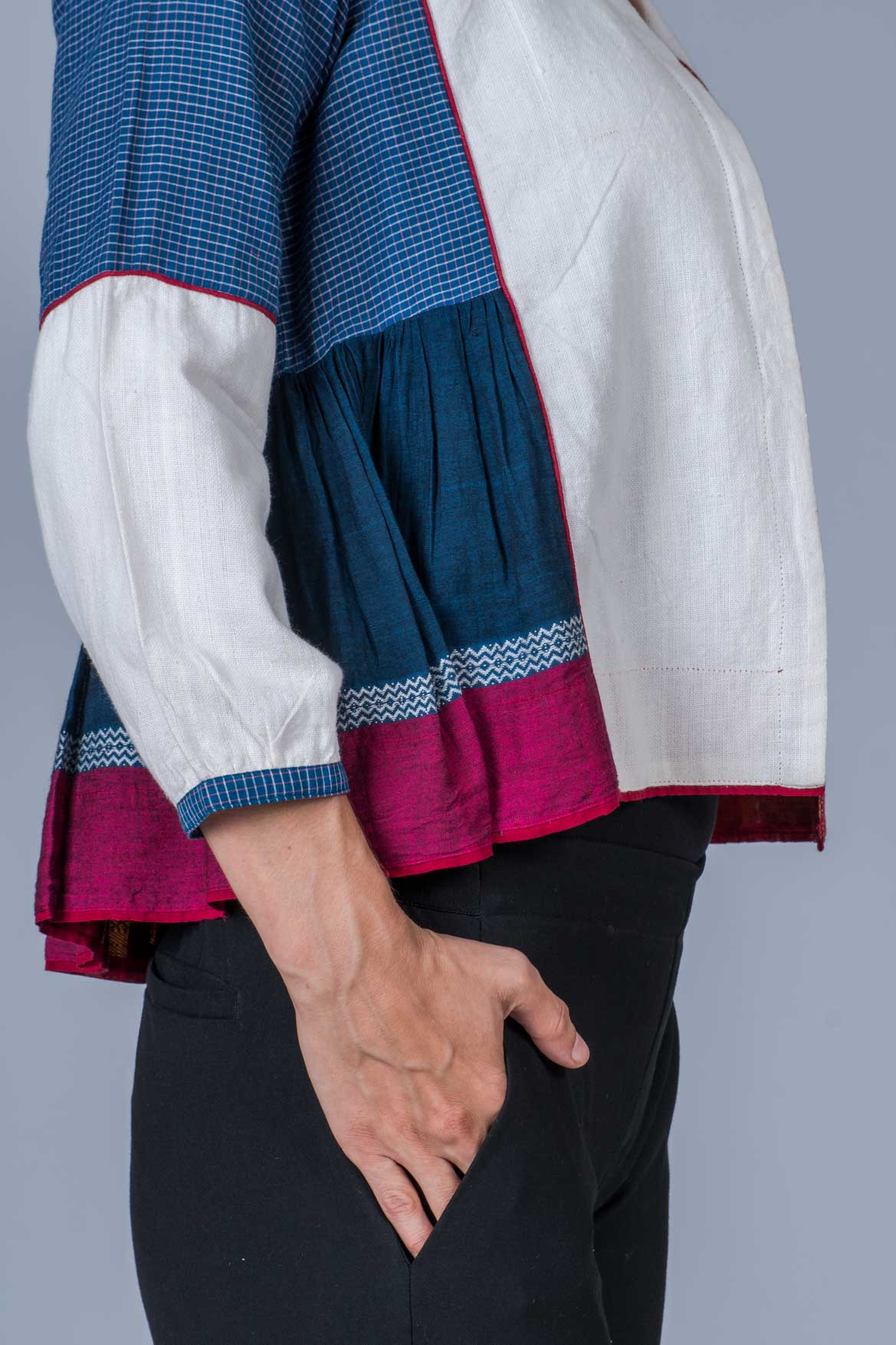White and Blue Composed Khadi and Organic Cotton Jacket - KEDIYA - Upasana Design Studio