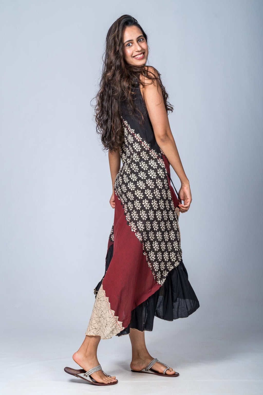 Aarnavi-Upcycled Organic Cotton Maroon Black  Dress
