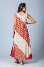 Aarnavi-Upcycled Organic Cotton Off White  Dress