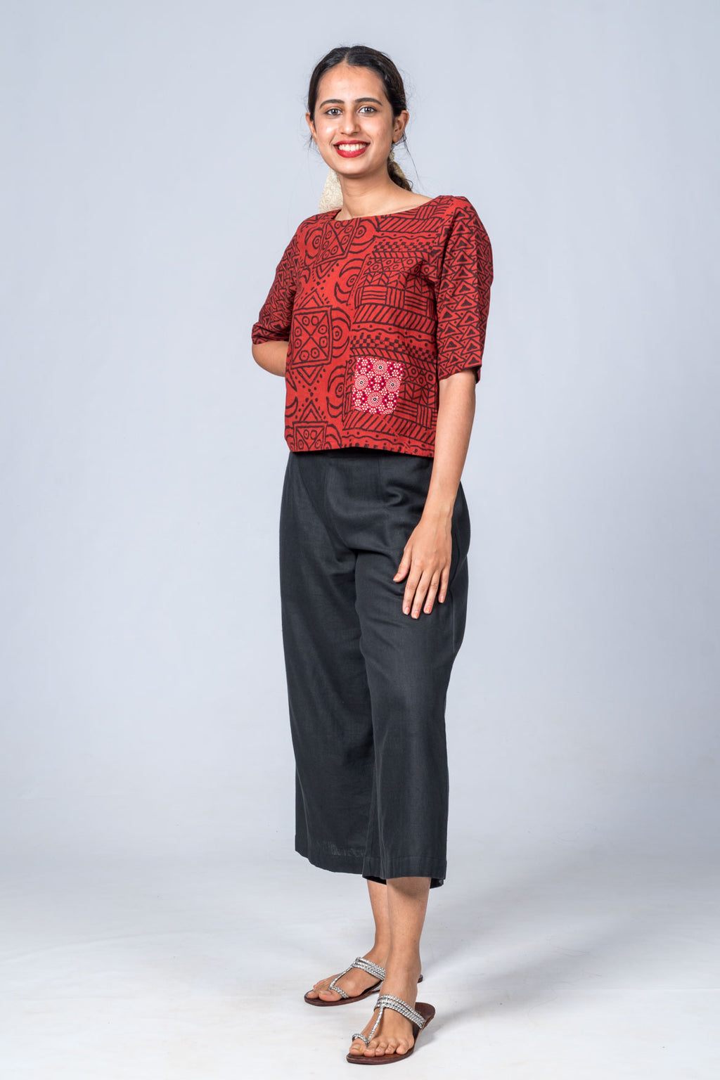 Kutty - Maroon Print Top