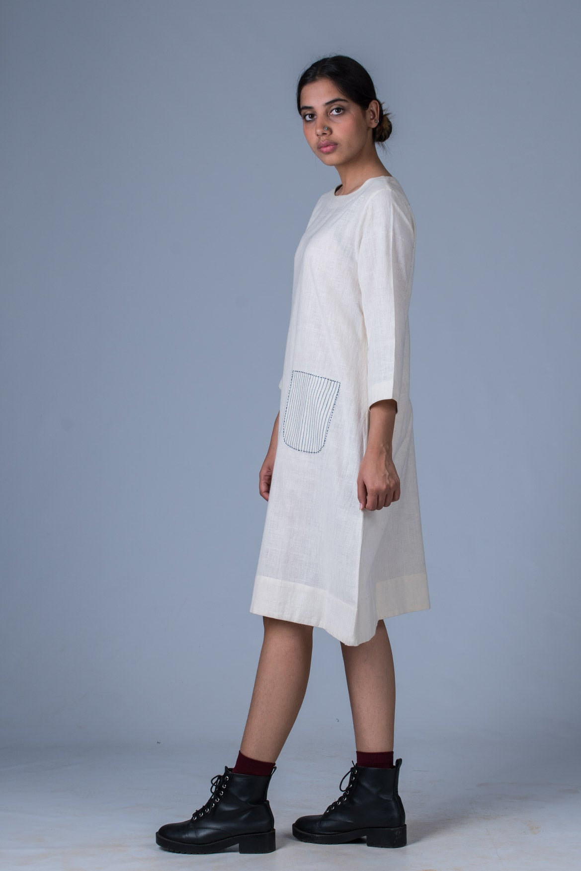 Off White Desi Khadi Dress - PARINA - Upasana Design Studio