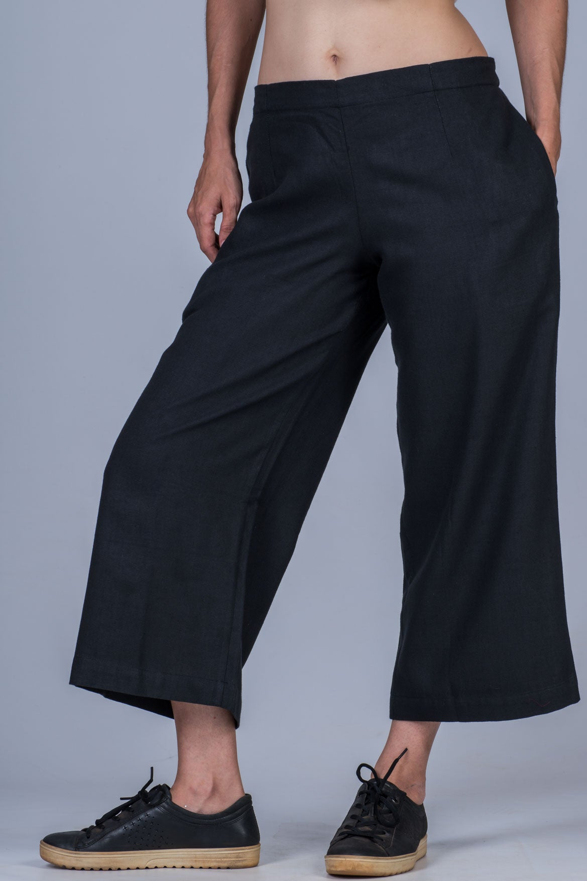 Black Khadi Pants - NILA - Upasana Design Studio