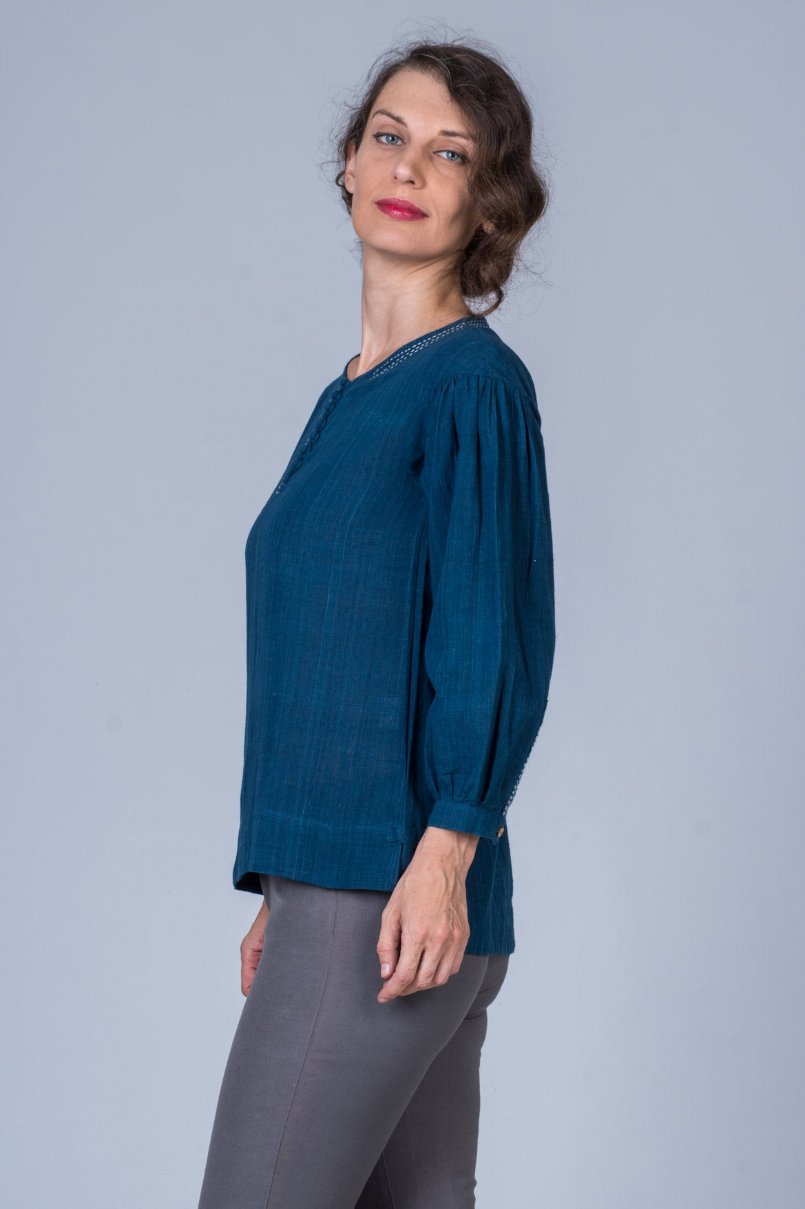 Indigo Dyed Handwoven Top - WHICH