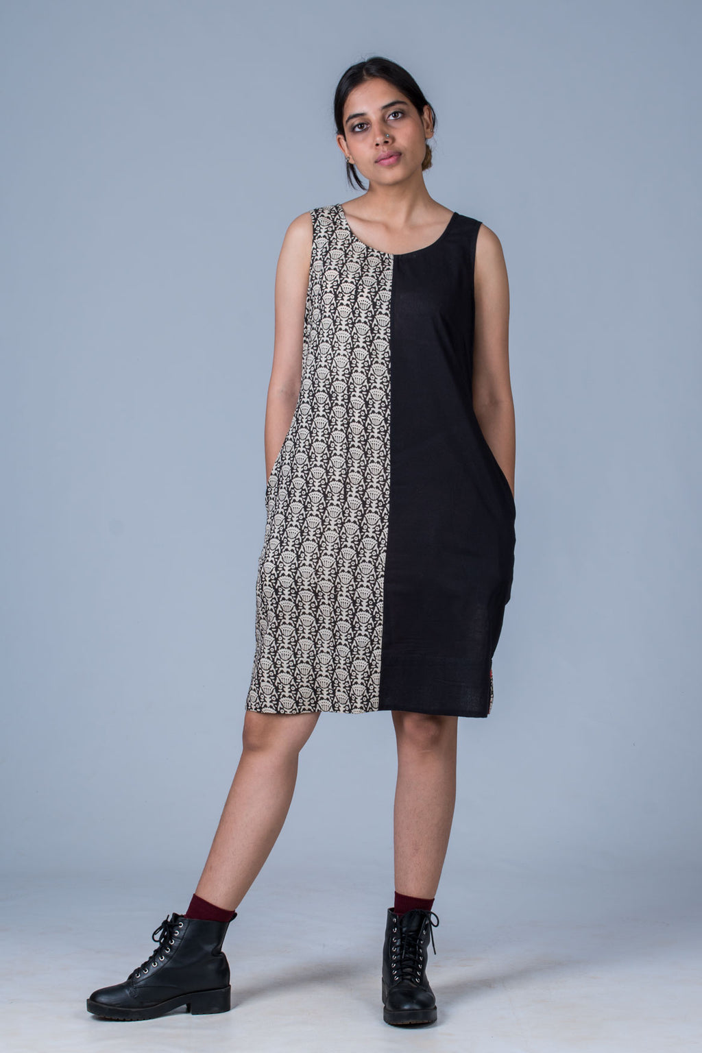 Nikita-Composed Dress of Organic Cotton & Hand Block Print