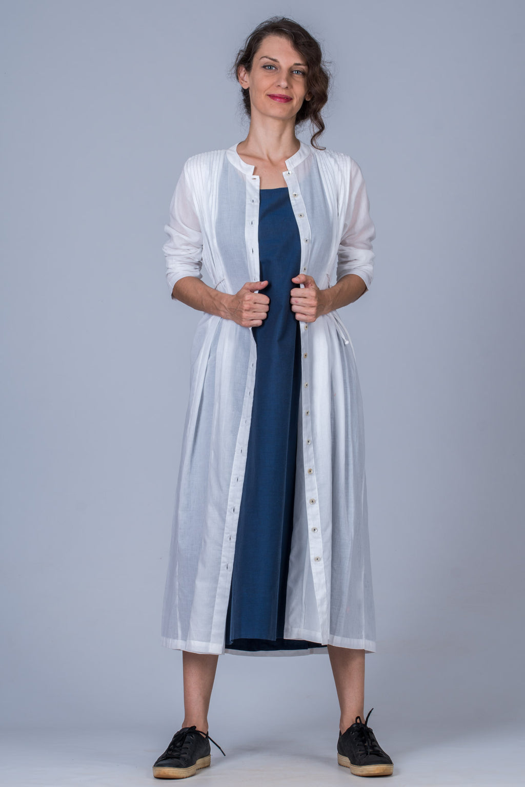 White Organic cotton Jacket dress - VEDIKA