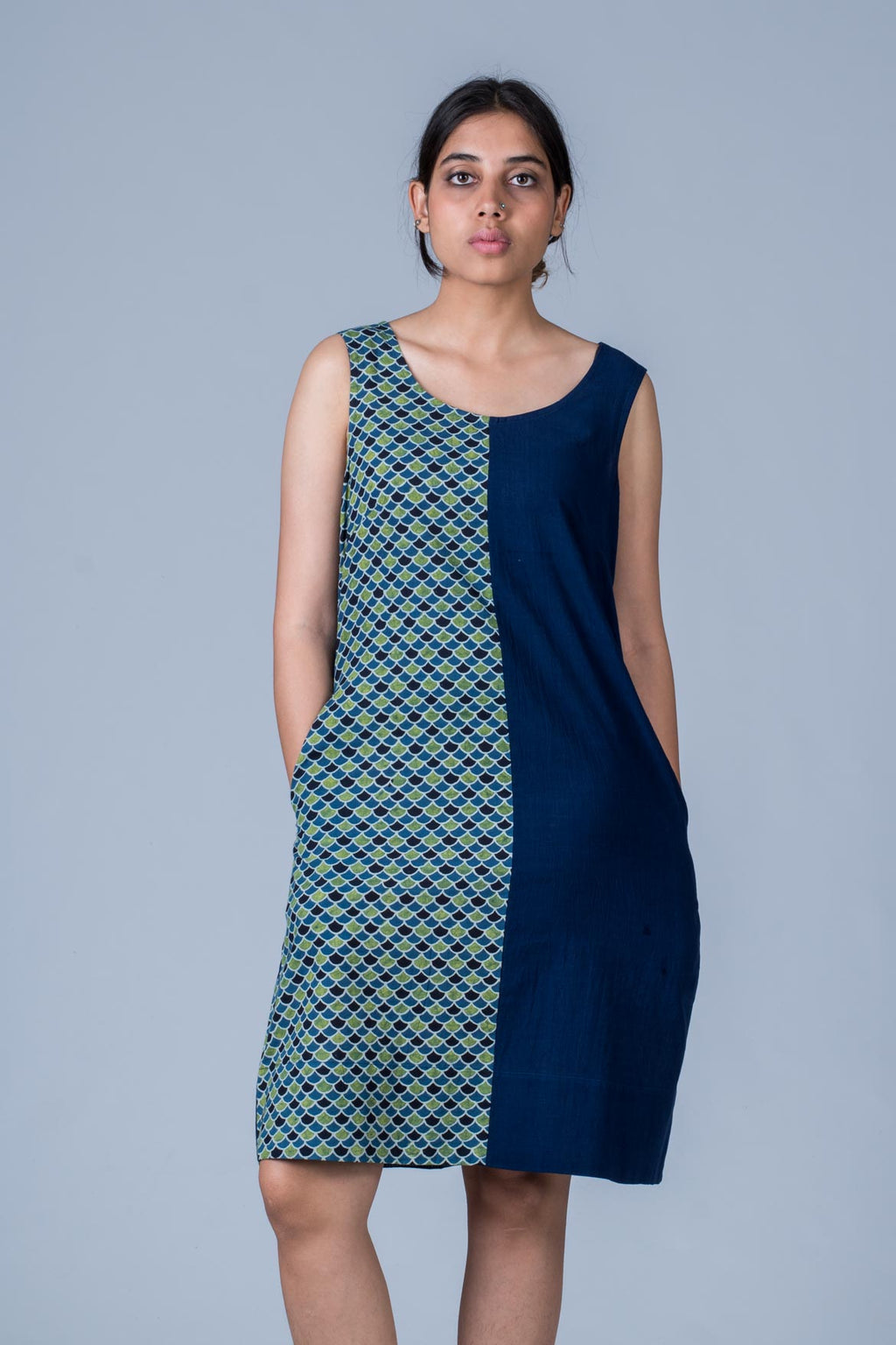 Nikita-Composed Dress of  Organic Cotton & Hand Block Print -Blue