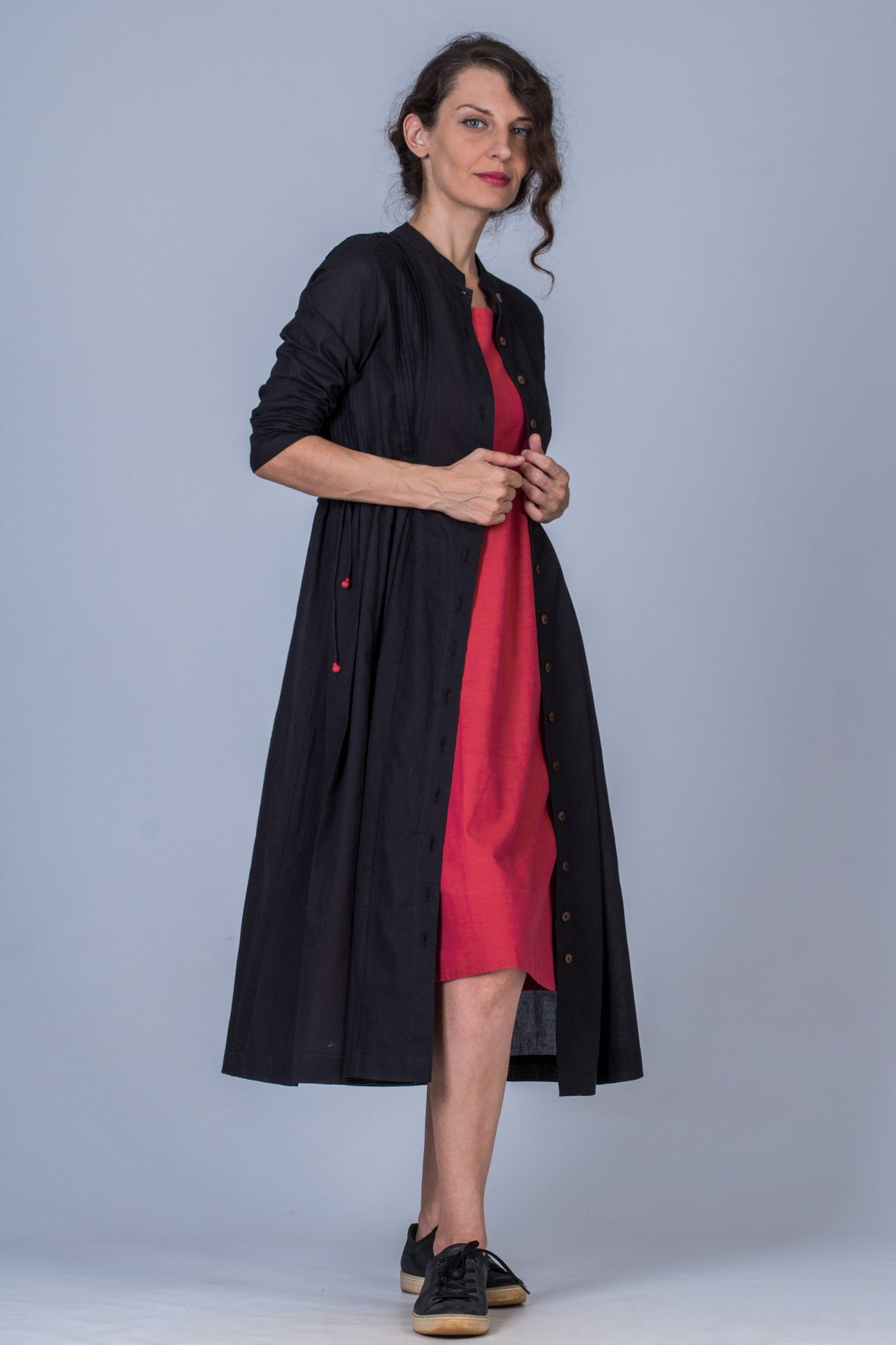 Black Organic cotton Jacket Dress - VEDIKA - Upasana Design Studio
