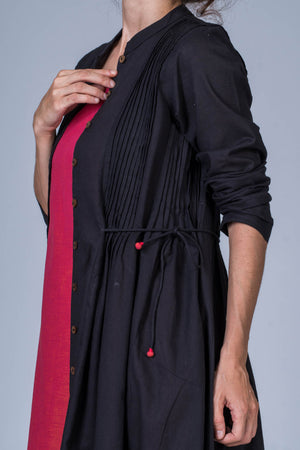 Black Organic cotton Jacket Dress - VEDIKA