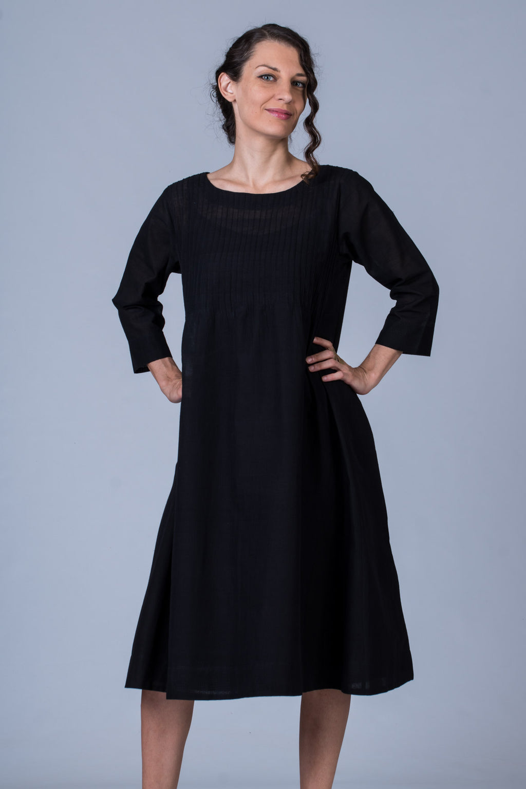 Black Cotton Dress - UDUPU