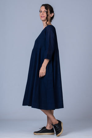 Indigo Mangalgiri Dress - UDUPU - Upasana Design Studio