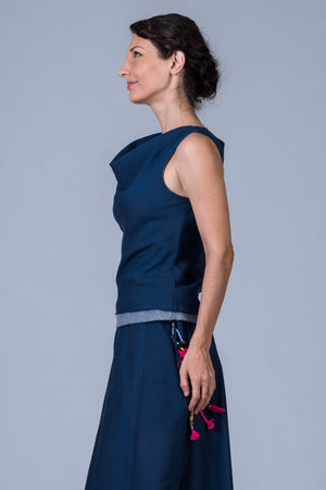 Indigo Organic cotton Top - COWL - Upasana Design Studio