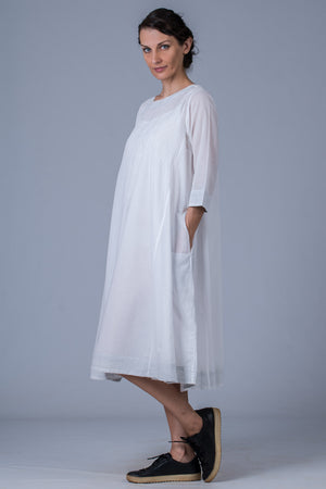 White organic cotton Mal Dress - UDUPU - Upasana Design Studio