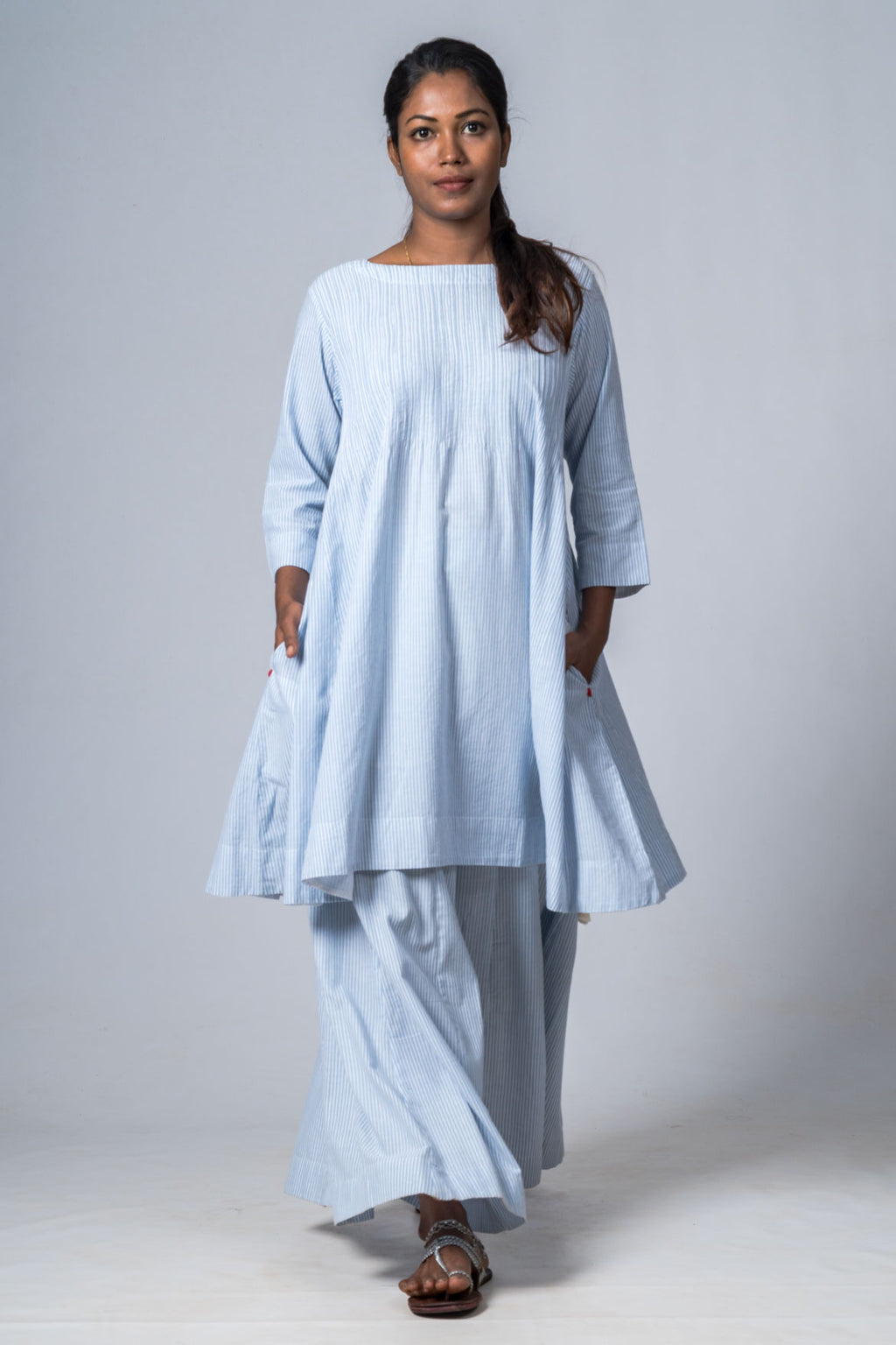 SERENE BLUE  ORGANIC COTTON STRIPED DRESS - Upasana Design Studio