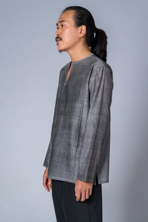 Grey Mangalgiri Cotton Shirt - COTTON TREE - Upasana Design Studio