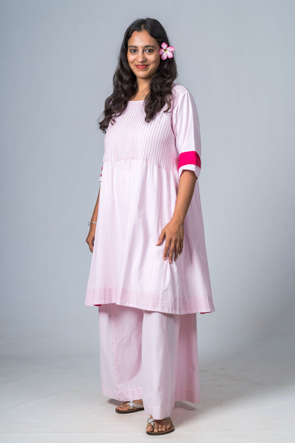 SERENE PINK ORGANIC COTTON STRIPED DRESS - Upasana Design Studio