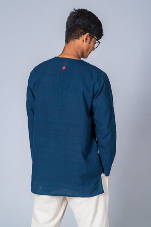 Natural Indigo Handwoven Kurta with Pockets - HEM - Upasana Design Studio