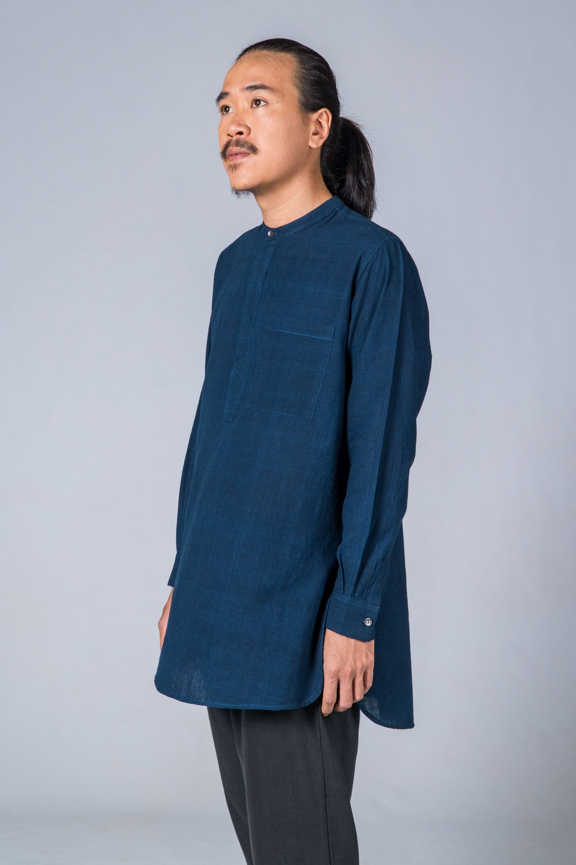 Natural Indigo Handwoven Kurta - ARISTA - Upasana Design Studio