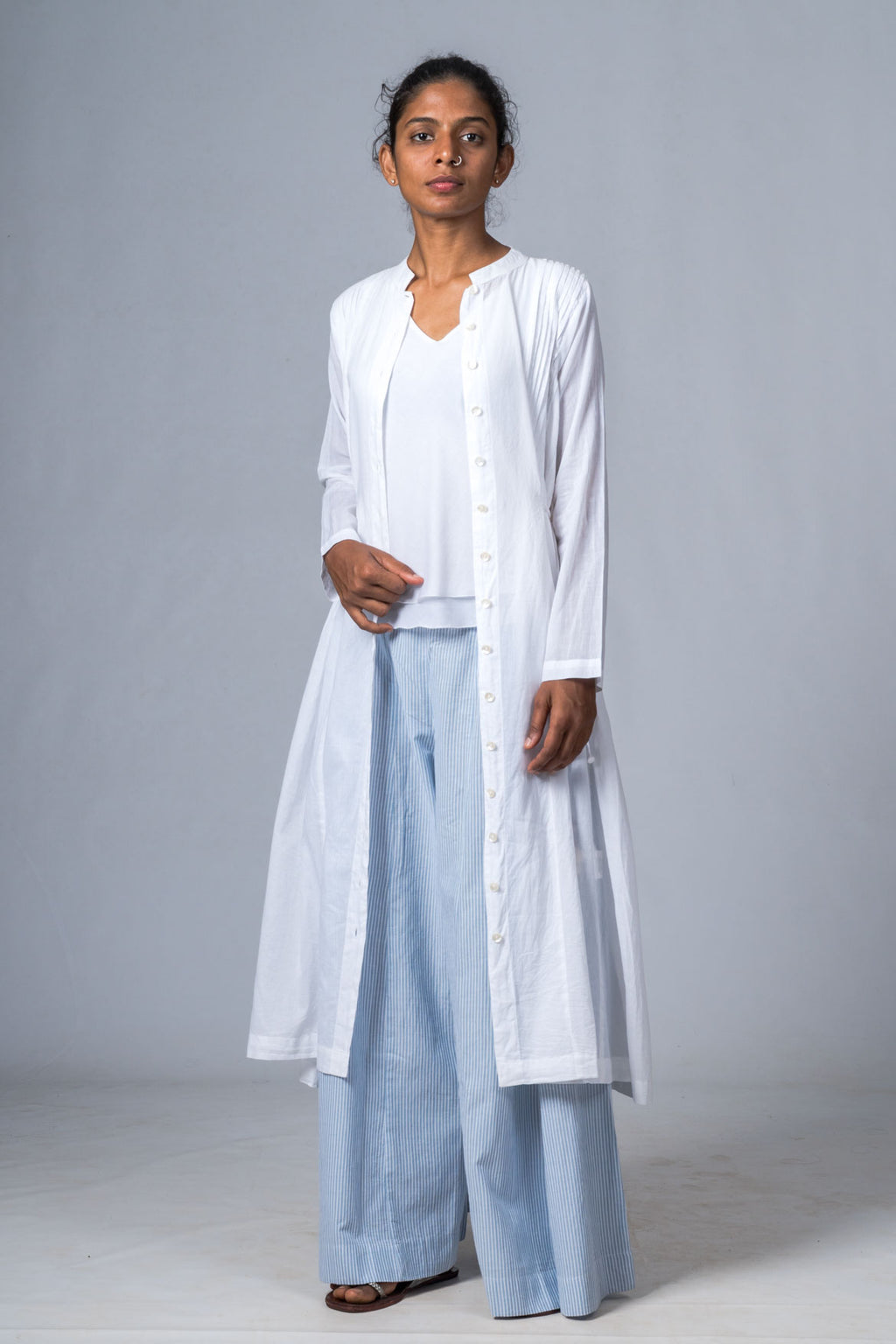VEDIKA WHITE ORGANIC COTTON JACKET DRESS - Upasana Design Studio