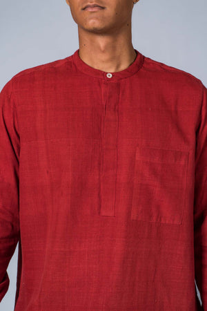 Red Handwoven Kurta - ARISTA - Upasana Design Studio