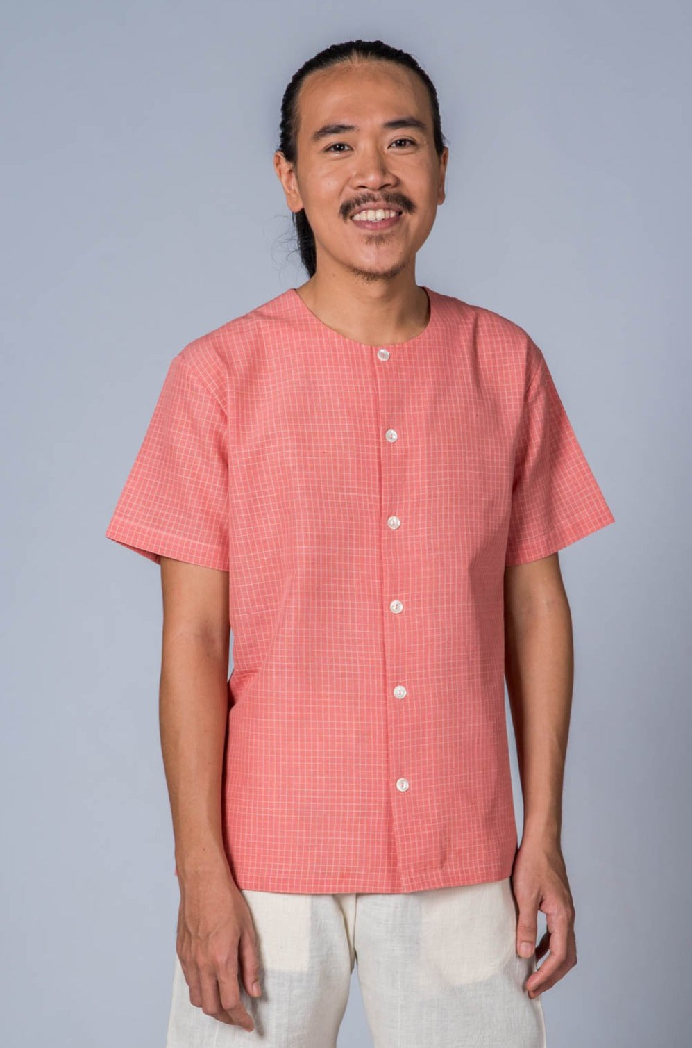 Pink Handwoven Checkered Shirt - JAMA - Upasana Design Studio
