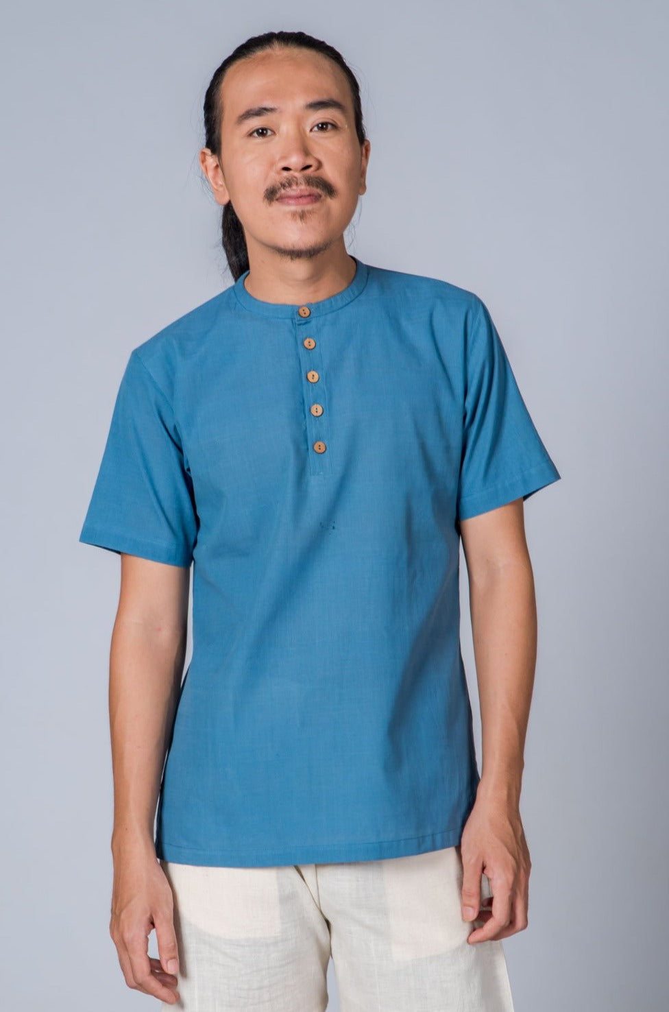Light Blue Handwoven Shirt - MANAV - Upasana Design Studio