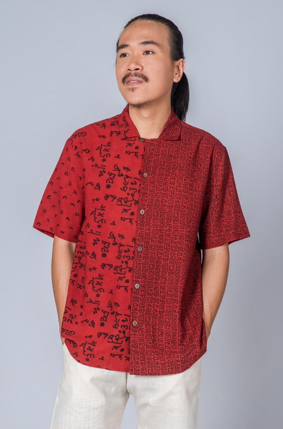 Red Hand Block Print Shirt - RAULPH - Upasana Design Studio