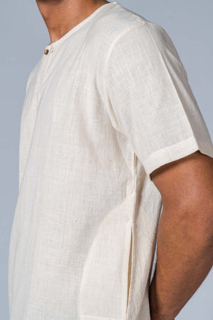 Off-white Handwoven Shirt - TYLER - Upasana Design Studio