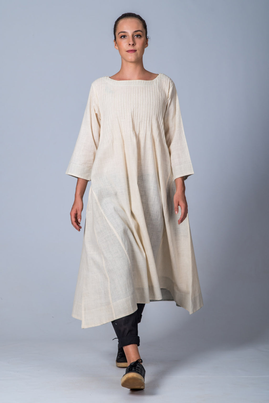 Off-white Handspun Handwoven Dress - UDUPU - Upasana Design Studio
