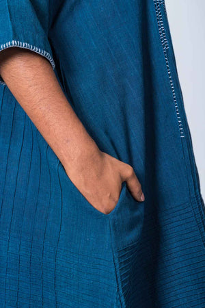 Natural Indigo Cotton Pintuck dress - KARL - Upasana Design Studio