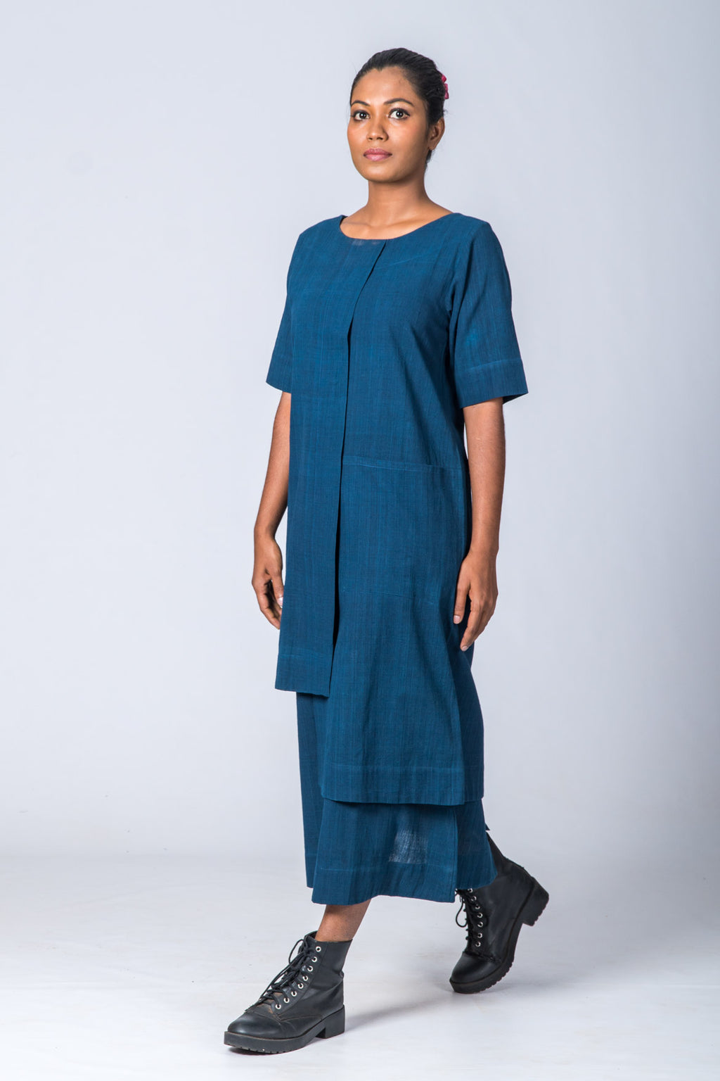 Natural Indigo Cotton Dress - SANGYA - Upasana Design Studio