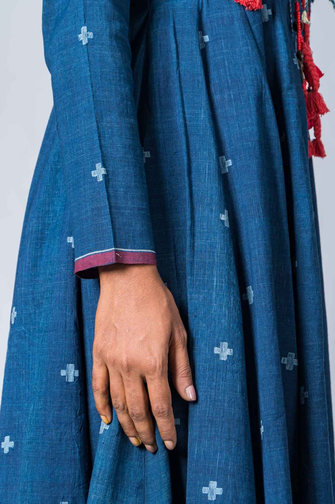 Natural Indigo  Cotton Jamdani Iniya Set - Upasana Design Studio