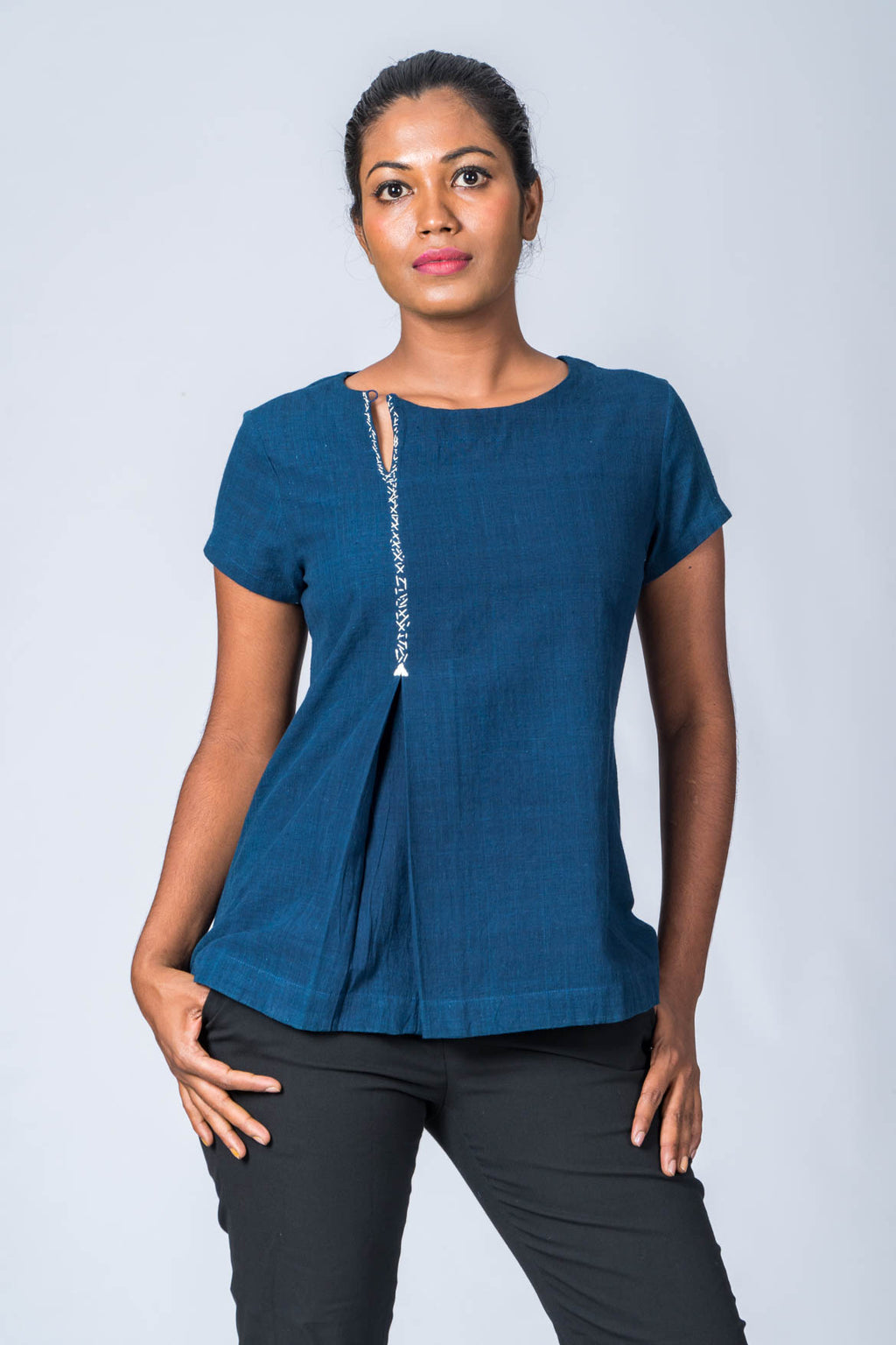 Natural Indigo Cotton Top - HOW - Upasana Design Studio